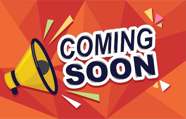 Opening coming soon banner poster badge design element Premium Vector