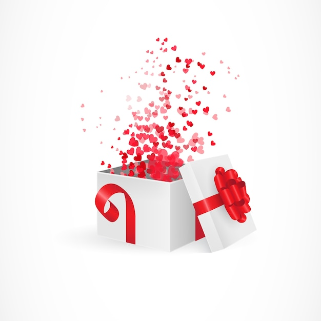 Scatola regalo di apertura per san valentino Vettore gratuito