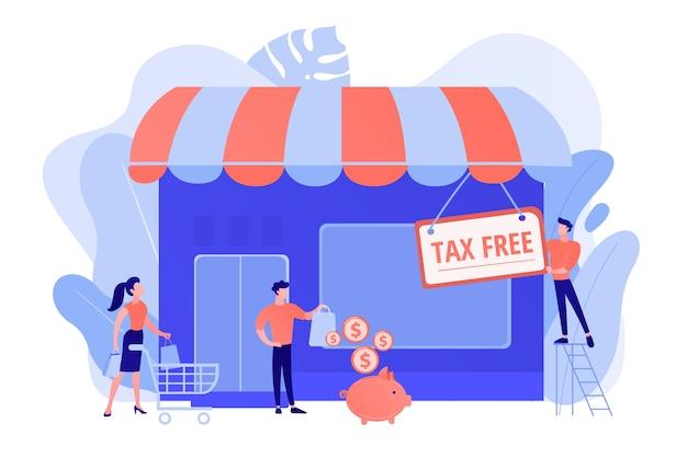 新規事業の開業、非課税のスタートアップ。免税サービス、vat無料取引、vatサービスの再構築、免税ゾーンの概念。ピンクがかった珊瑚bluevector分離イラスト 無料ベクター