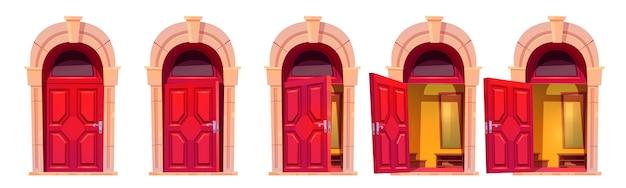 흰색 배경에 고립 된 돌 아치와 빨간색 정문을 엽니 다. 집 입구의 만화 세트, 건물 외관에 닫힌, 열려 및 열린 문 뒤에 홀 인테리어 무료 벡터