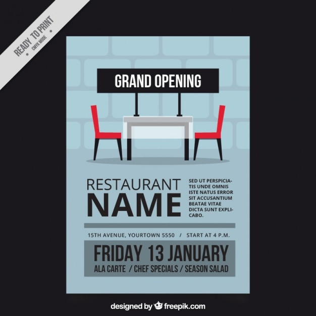 Opening restaurant brochure in flat design vector free