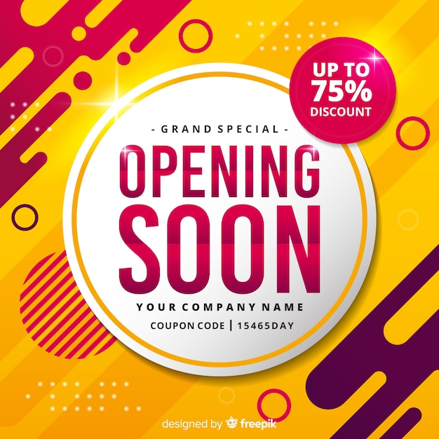 Opening soon abstract yellow background Free Vector