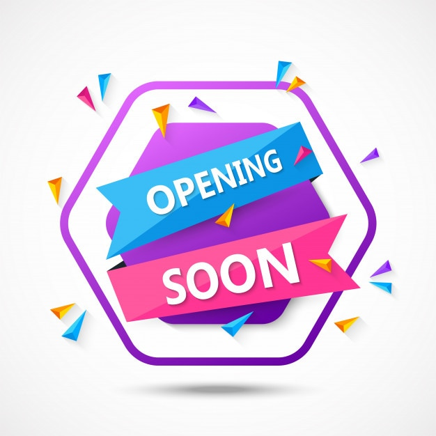 Opening soon background composition with flat design Premium Vector
