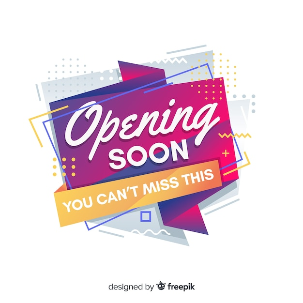 Opening soon background flat design Free Vector