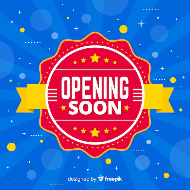 Opening soon background in flat style Free Vector