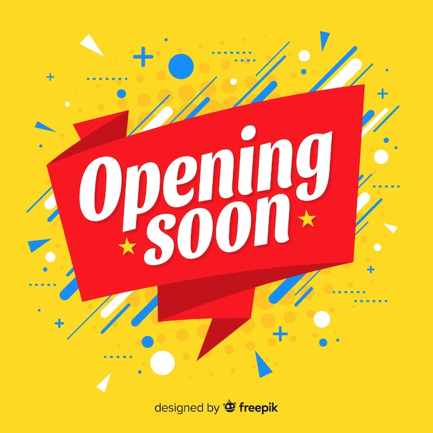 Opening soon background in flat style Premium Vector