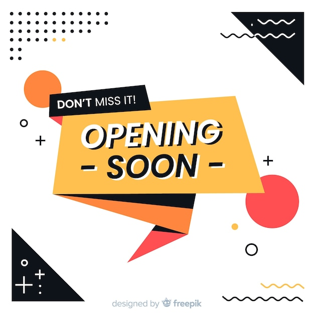 Opening soon background origami design Free Vector