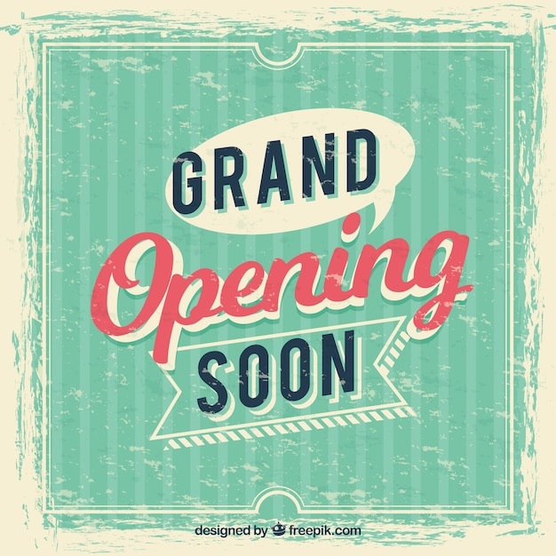Opening soon background vintage style with typography Free Vector