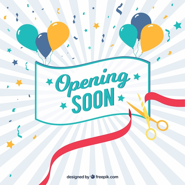Opening soon background with confetti and balloons Free Vector