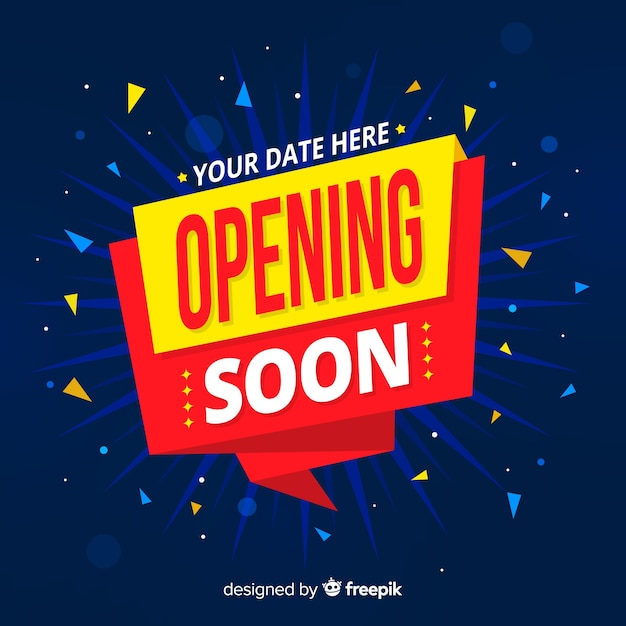 Opening soon background with confetti Free Vector