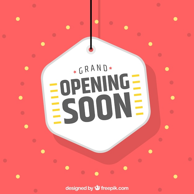 Opening soon background with label Free Vector