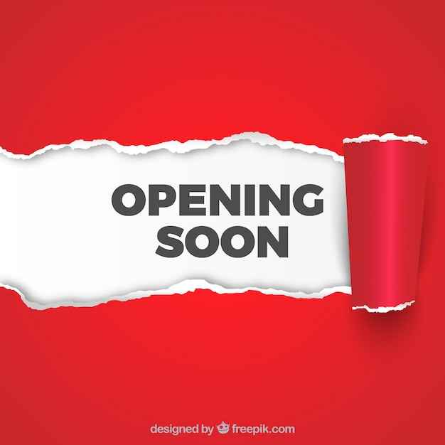 Opening soon background with paper sign Free Vector