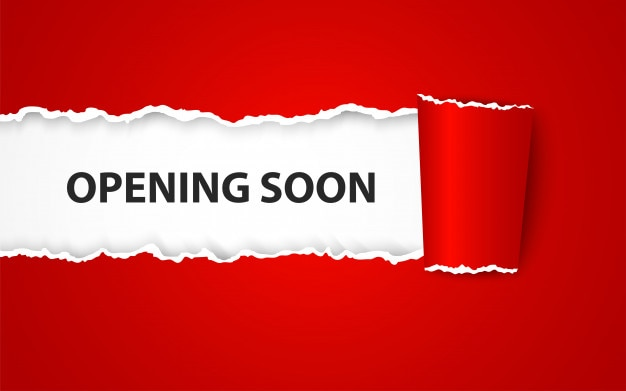 Opening soon background with paper sign Premium Vector