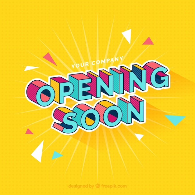 Opening soon background with typography Free Vector
