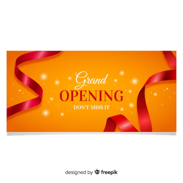 Opening soon banner in realistic style Free Vector