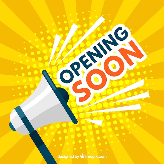 Opening soon composition with flat design Free Vector
