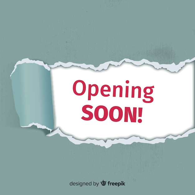 Opening soon modern background with typography Free Vector