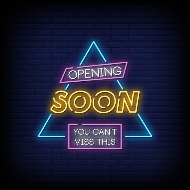 Opening soon neon signs style Premium Vector