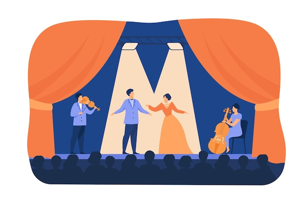 Оперные певцы играют на сцене с музыкантами. артисты театра в костюмах, стоя в свете прожекторов и поют перед публикой. плоские карикатуры для драмы, концепция представления Бесплатные векторы