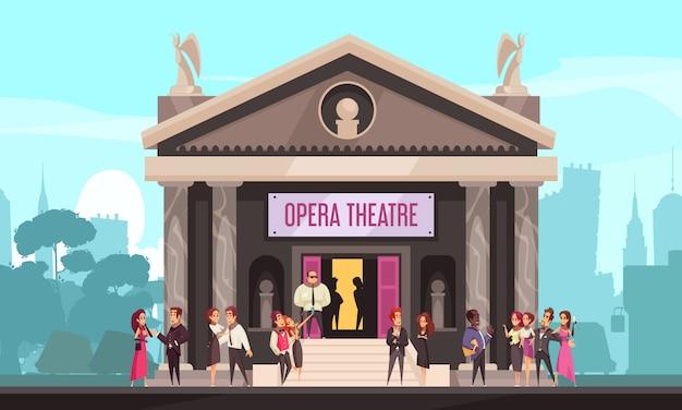 Фасад здания оперного театра внешний вид с публикой на парадный вход лестница городской пейзаж квартира Бесплатные векторы