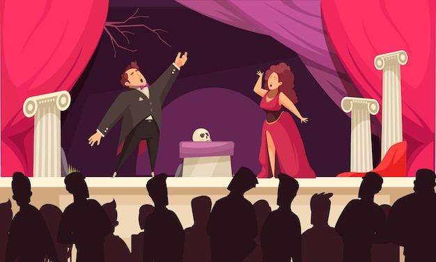 Opera theater scene flat cartoon  with 2 singers aria onstage performance and audience silhouettes Free Vector