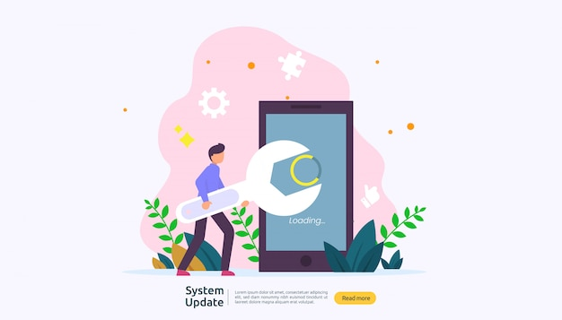 Operation system update progress concept. Premium Vector