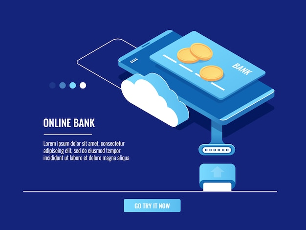 Operations with money online, mobile phone with credit card and coins, cloud storage Free Vector