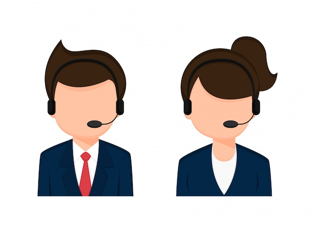 Operator employee male and female cartoon characters. Premium Vector