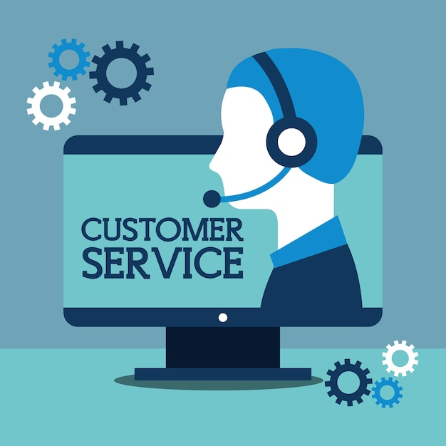 Operator with headphones and computer customer service Premium Vector