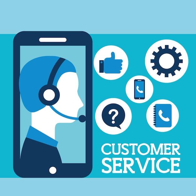 Operator with headset phone customer service Premium Vector