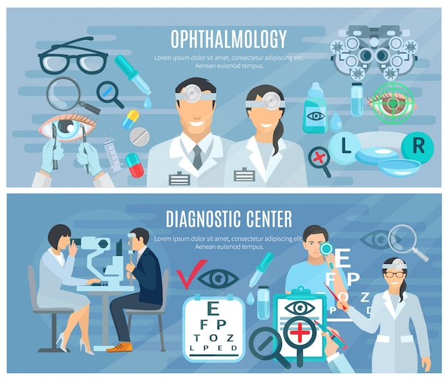 Ophthalmic diagnostic center for vision test and correction 2 flat horizontal banners set abstract i Free Vector