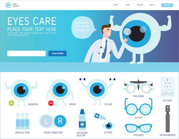 Ophthalmic landing page Premium Vector