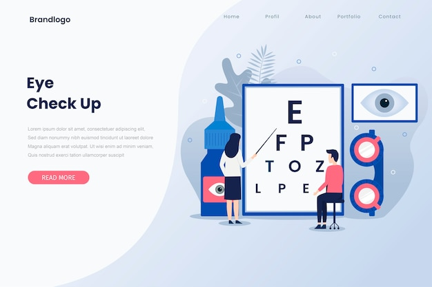 Ophthalmologist check up illustration landing page.. Premium Vector