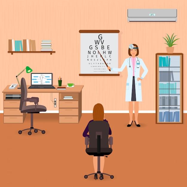 Ophthalmologist checks eyesight of patient in oculist office interior. medicine doctor visiting . Premium Vector