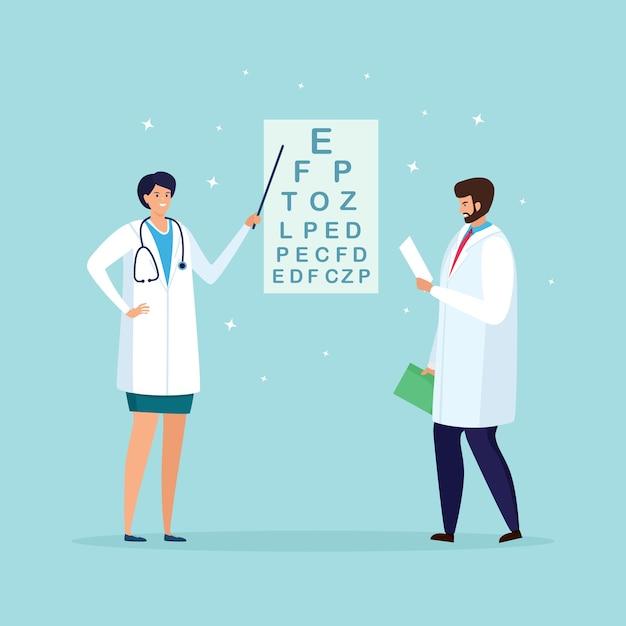 Ophthalmologist checks patient sight. optical eyes test, optical eyesight examination. optometrist check eye vision. ophthalmology exam in hospital. cartoon design Premium Vector