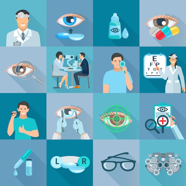 Ophthalmologist clinical treatments tests and vision correction flat icons collection with glasses a Free Vector