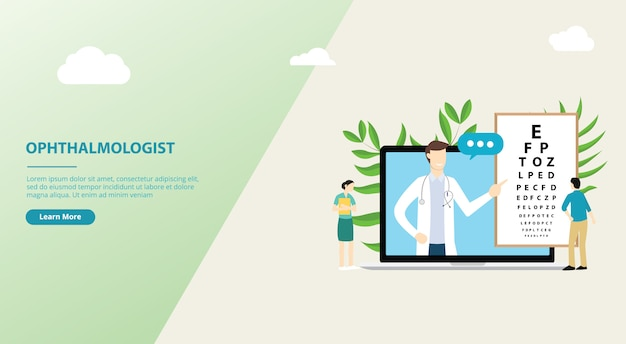 Ophthalmologist consultation website design template Premium Vector