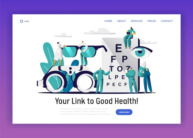 Ophthalmologist doctor check eye health landing page. Premium Vector