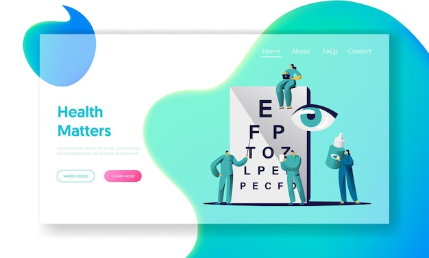 Ophthalmologist doctor check eye sight landing page. Premium Vector