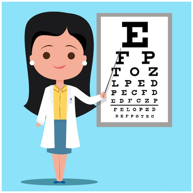 Ophthalmologist female doctor Premium Vector