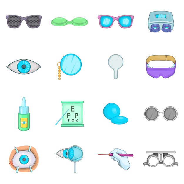 Ophthalmologist icons set Premium Vector