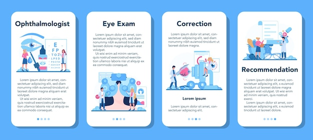 Ophthalmologist mobile application banner set. idea of eye exam and treatment. Premium Vector