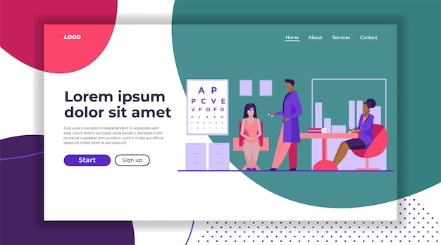 Ophthalmologist and nurse checking woman eyesight landing page template Free Vector