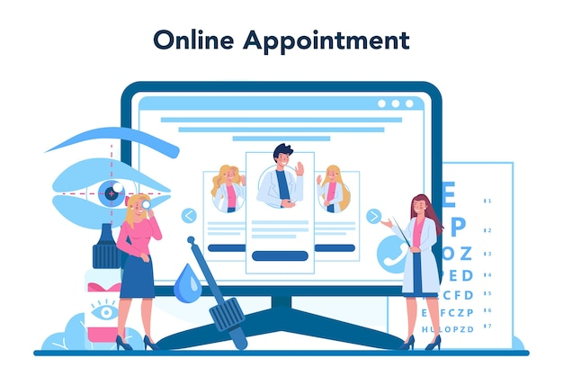 Ophthalmologist online service or platform. idea of eye exam and treatment. Premium Vector