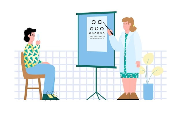 Ophthalmologist or optometrist examining patient Premium Vector