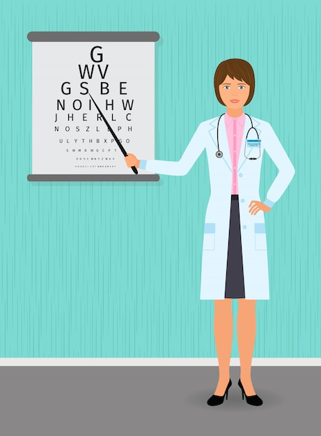 Ophthalmologist point out to eyesight check table. medicine doctor . Premium Vector