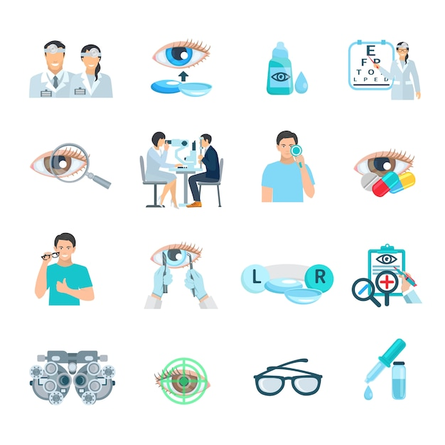 Ophthalmologist vision correction clinic flat icons set with eye symbol abstract isolated  vector il Free Vector