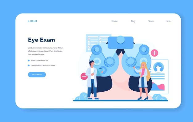 Ophthalmologist web banner or landing page. Premium Vector