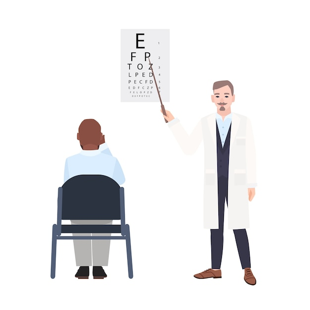 Ophthalmologist with pointer standing beside eye chart and checking eyesight of man sitting in front of it Premium Vector