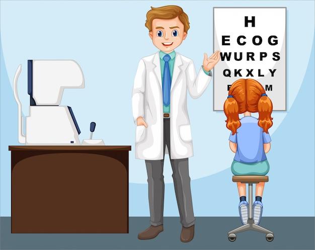 Ophthalmologist working in clinic Free Vector